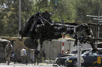 A vehicle destroyed by a car bomb explosion in Kabul, Afghanistan, on Monday.