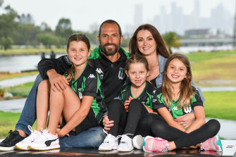 Andrew Durante with his family in Melbourne ahead of his 400th league game this weekend.