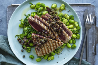 Tuna steaks with broad beans and tapenade.