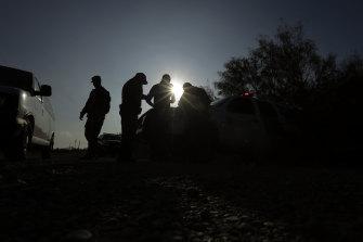 Border patrol agents on the US-Mexico frontier near McAllen, Texas.
