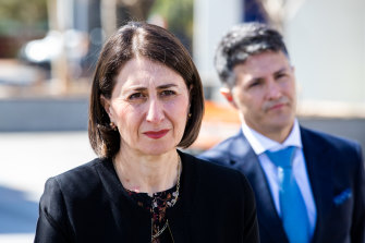"""""""Positive news"""": Premier Gladys Berejiklian and Minister for Customer Service Victor Dominello on Monday."""