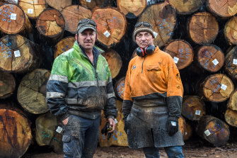 Sawmill workers Mark Hack and Mick Swain  face an uncertain future.