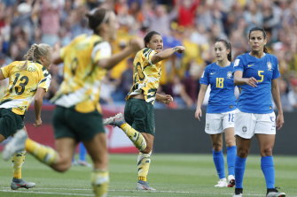 Sam Kerr celebrates one of Australia's goals in the 2019 World Cup match against Brazil.