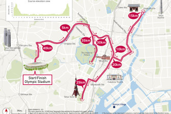 The marathon course for the Tokyo Games.