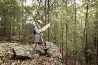 Ashley Burke, a bushwalking guide and map trainer, in his element.