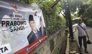 A banner in Jakarta for Indonesian presidential candidate Prabowo Subianto.