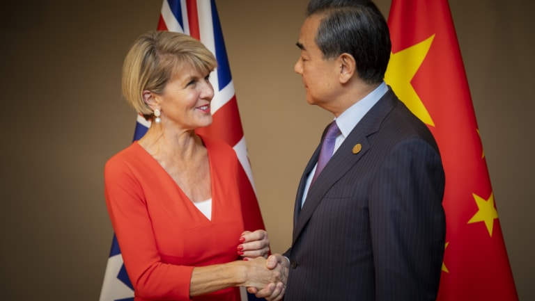 Foreign Minister Julie Bishop with State Councillor and Foreign Minister Wang Yi in Buenos Aires on Monday.