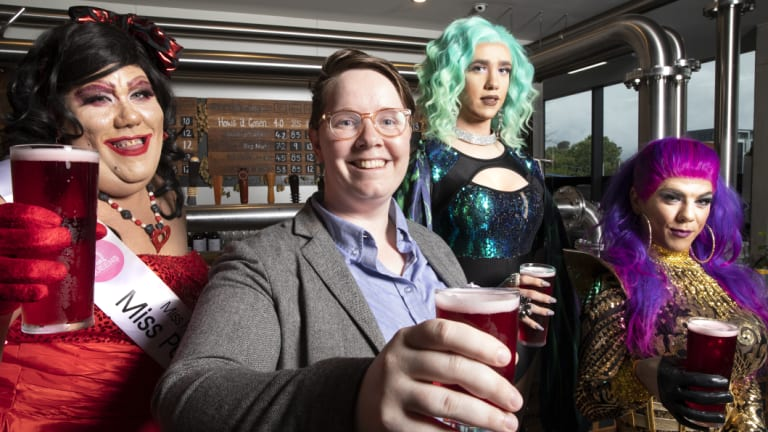 Mad B, Yes!Fest organiser G Guthrie, Queen B, and Vanity Wilde at Bentspoke Brewery in Braddon, who have crafted a raspberry beer called the Frenzy to celebrate the anniversary of the marriage equality vote.