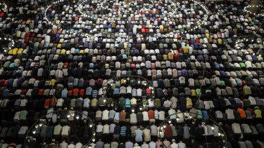 Turkish Muslims celebrate Eid in the Suleymaniye Mosque in Istanbul.