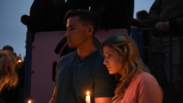 A vigil outside the Synagogue.