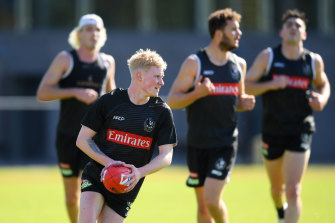 Mid-year draftee John Noble at Pies training earlier this month.