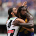 Ruck 'n' roll: Brodie Grundy tussles with West Coast's Nic Naitanui.