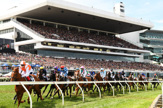 Jockey Craig Williams en route to winning the 2019 Melbourne Cup with Vow And Declare.