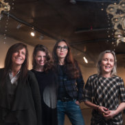 Finkelstein Gallery founder Lisa Fehily with artists Kate Rohde, Coady and Lisa Roet.