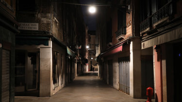 A deserted street in Venice, Italy.