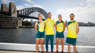 Lucy Stephan, Jake Birtwhistle, Katie Ebzery and Tom O'Halloran pose during Australia's Olympic team uniform launch.