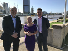 Announcing work beginning on Brisbane's first cross-river bridge in 10 years is Destination Brisbane project director Simon Crooks (left), Tourism Minister Kate Jones and South Bank business development manager John Barton.