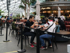 Gatherings are limited to two people under Singapore's COVID restrictions.