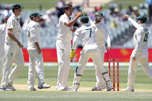Mitchell Starc is congratulated by teammates after taking the wicket of India's Wriddhiman Saha.