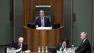 Speaker Tony Smith during a division in the House of Representatives on Tuesday.
