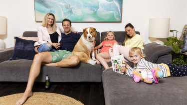 """""""The noise, chaos and laughter fills the space"""": The Smith family, au pair Charli Slarks and dog Sundae."""