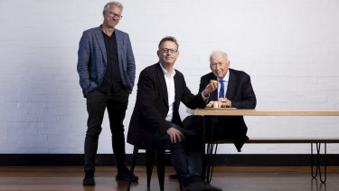 Nick Hazell of v2 Foods, a plant-based meat company, with investors Jack Cowin, of Hungry Jacks, and Phil Morle.