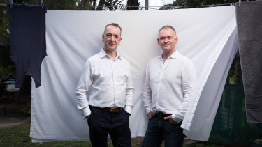 Adrian Jones (left) andGraham Ross, co-founders of BlockTexx, a start-up that takes textile waste and recycles it into clothes and other products.