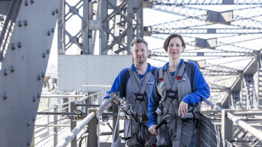 Siblings David and Anthea Hammon, pictured on the Sydney Harbour Bridge, had to mend fences before working together.