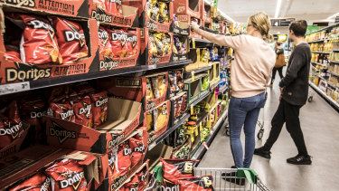 The chips aisle at Woolworths in Plumpton, the supermarket chain's number one seller of Doritos.