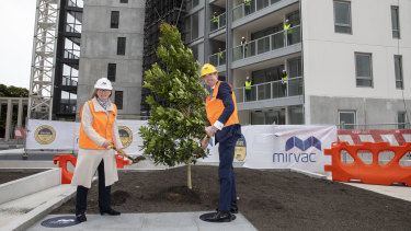 """Mirvac's Susan Lloyd-Hurwitz at the """"topping out"""" of one of the developer's buildings."""