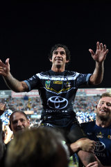 Johnathan Thurston, carried from the field in his last game in Townsville, will go down as one of the greatest players of all time.