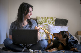 Working with your dog from home: Erin Kanygin and Barkley.