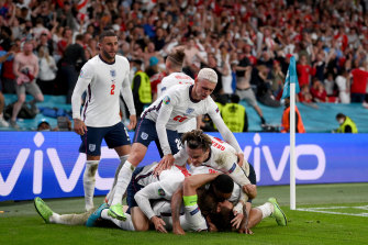 England celebrate in front of a raucous Wembley crowd.