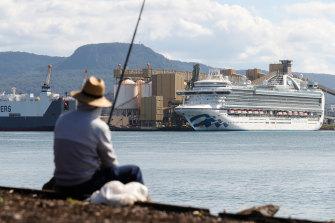 The controversial Ruby Princess cruise ship at Port Kembla on Sunday.