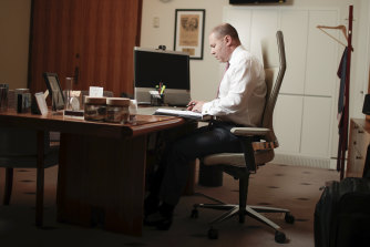 Treasurer Josh Frydenberg, in his office at Parliament House in March, kept in touch with business leaders.