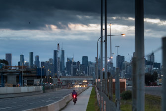 Melbourne's roads and cycling paths, seen here from Footscray, were quiet on Tuesday morning in Victoria's fifth lockdown.