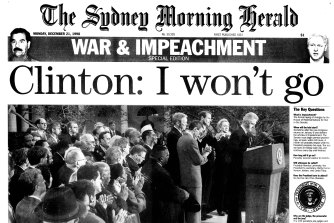"Page 1 of the Herald,  21 December 1998.  The Herald published a ""War & Impeachment - Special Edition""."