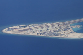A man-made Chinese airstrip in the heavily contested South China Sea.