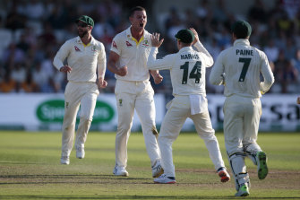 Josh Hazlewood finally makes a breakthrough for Australia, snaring Joe Denly's wicket.