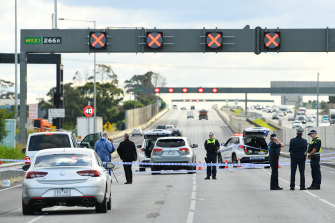 Police at the scene of the Monash Freeway shooting.