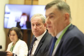 Department of Health Associate Secretary Caroline Edwards , Minister for Senior Australians and Aged Care Services Richard Colbeck and Secretary of the Department of Health Professor Brendan Murphy during a Senate estimates this morning.