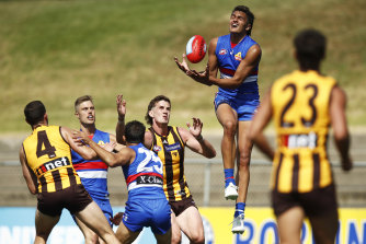 No.1 draft pick Jamarra Ugle-Hagan pictured in action on Wednesday.