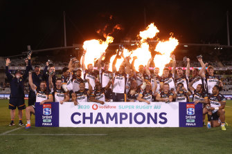 The Brumbies celebrate their title triumph.