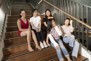 Five of the six MLC students who achieved a perfect score in the International Baccalaureate.