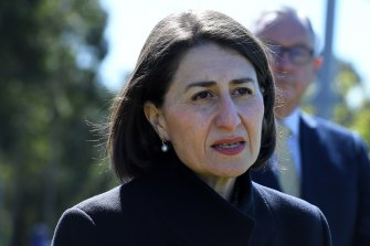 NSW Premier Gladys Berejiklian during a COVID-19 update on Monday.
