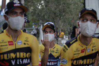 Slovenia's Primoz Roglic with teammates at the Tour de France team presentation.