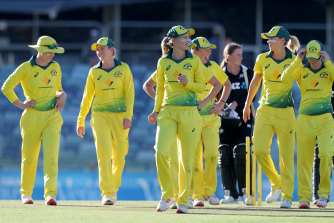 Australia leaves the field after winning the women's One Day International (ODI) against New Zealand at the WACA in February.
