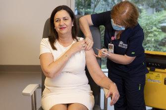 Queensland Premier Annastacia Palaszczuk receives her COVID-19 vaccination.