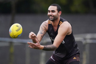 Shaun Burgoyne is one of just two current Hawks to have won a game at GMHBA Stadium.