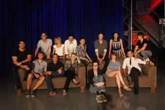 The 2011 cast of Hungry Beast: Clockwise, from left; Marc Fennell, Lewis Hobba, Kirsten Drysdale, Kirk Docker, Patrick Clair, Nick Hayden, Veronica Milsom, Monique Schafter, Scott Mitchell, Ali Russell, Nick McDougall, Elmo Keep, Dan Ilic, Aaron Smith. Not present: Luke Harris, Chris Leben, Jessica Mendes, Daniel Keogh and Kieran Ricketts  Marc Fennell, Mastermind and The Feed host, plus a bazillion successful podcasts